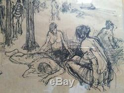 Table Drawing Old Sea Beach Pine Hungary Modernism Art Deco Raumann