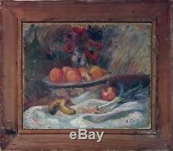 Table Former Oil Painting 1900 Art Deco Naked Book Signed Illegible Duplex