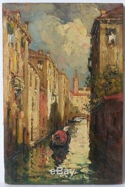Table Oil Painting Old Gondola In Venice