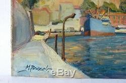Table Oil Painting Old Signed Pouzet, Navy, Boats, Seaside