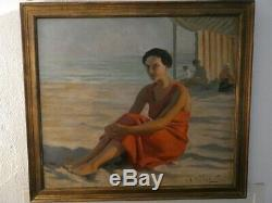 Table Oil To The Beach Palavas Signed Jean Aristide Rudel (1884-1959)
