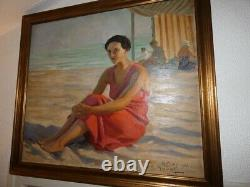 Table Oil To The Beach Palavas Signed Jean Aristide Rudel (1884-1959)
