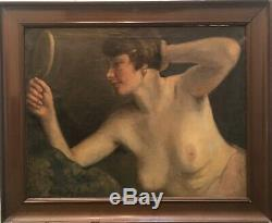 Table Old Paint Naked In The Mirror Emile Vauthier 1925