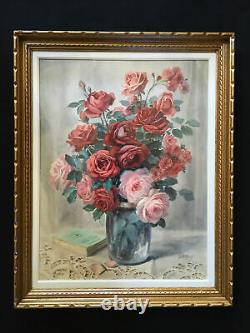 Table Painting Rose Bouquet In Vase And Book On Napperon Signed Jules Douy