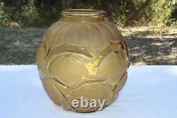 The French Glass Glass Vase Mollé With Stylized Fruits Art Deco Signed Verçais