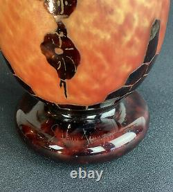The French Glass Large Glass Vase Thickness Signed Epoque Art Deco / H 55cm