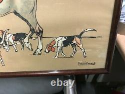 Thomas Barwick Very Beautiful Engraving Hunting With Horse Riding Framed Mahogany N°2