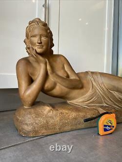 Ugo Cipriani Important Statue Art Deco Signed Terracotta Sculpture
