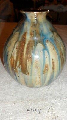 Vase Boule Art Deco In Enamelled Greds, Signed Roger Guerin