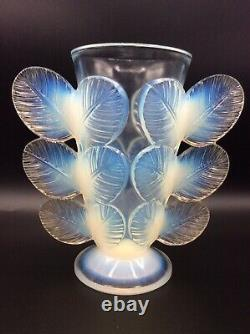 Vase Pressed Glass Opalescent Signed Pierre Davesn Model Sheets Art Deco