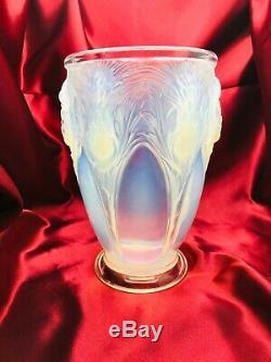 Vase Verlys Thistles Opalescent Era Daum Lalique Sabino 1920 Art Deco Signed