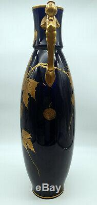 Vases Earthenware Art Deco Decor From Tours From Gold Blue Sévres 1925 Signed Peaudecerf
