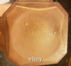 Vintage Vase Art Deco Moulded Glass By Muller Frères Luneville (18)