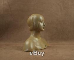 Woman Bust Art Deco Ceramic Signed Denbac Metenier