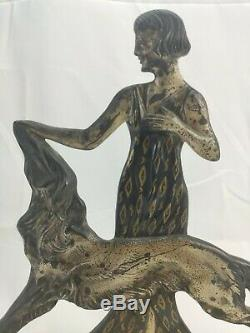 Woman With Greyhound In Silvered Bronze Signed Nisoul Art Deco Glassmaker Max 1930