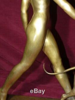 Young Woman Bronze Sculpture (artemis) In Lévrierr. Rivoire 1930 Art Deco