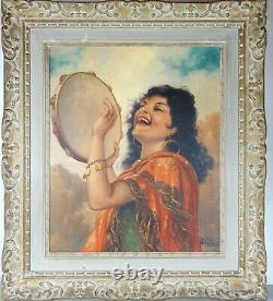 1930/40 Andre David Tableau Portrait Huile S/toile Art Deco Gitane Femme Peintur