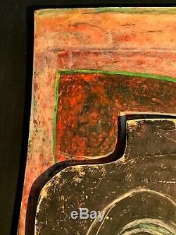 1970 Jean-claude Lethiais Peinture Art-deco Moderniste Abstraction Forme-libre