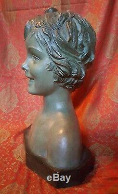 30's Art Déco Demetre H Chiparus Buste fillette terracotta bust signé