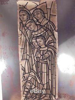ART DÉCO 1930 Rare Grand Dessin Vitrail Religion Gouache Originale No Sign 1/3
