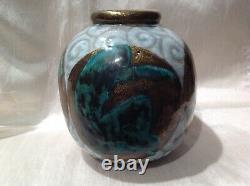 ART DECO Vase céramique craquelé à décor corps de femme signé