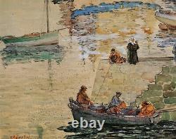 Agostini, Bretagne, dessin, tableau, mer, bateau, pêche, port, thon, Pont-Aven