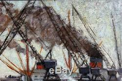 Albert COPIEUX, Le Havre, Tableau, Peinture, bateaux, mer, port, paysage marin
