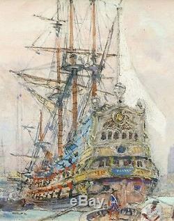 Albert SEBILLE dessin gouache tableau port Dunkerque marine voile bateau Arsenal