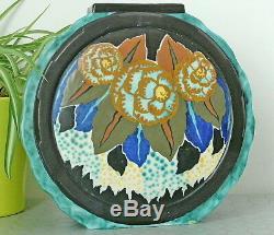 Ancien Grand Vase En Céramique Émaillée Signé D'argyl Art Déco Année 30 40 Paris