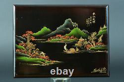 Ancien Panneau en Laque Viêt Nam Indochine signé Thanh Lê Paysage Mékong rare