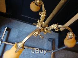 Ancien lustre art deco bronze doré 3 tulipe pate de verre signé MULLER Luneville