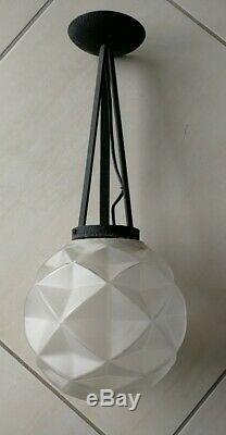 Ancien lustre suspension Art Deco signé DEGUE