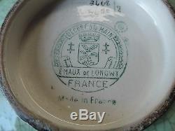 Ancien rare coupe a fruits sur pied émaux de Longwy signé N°3468 /5670 art déco
