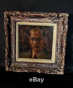 Ancien tableau Portrait d'homme Noble signé Martin Bollé Belge XX Art Déco 1930