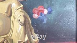 Ancienne HUILE TOILE CHINE PUTAI DIVINITE NATURE MORTE 1944 tableau JEAN MAIRET