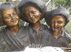 Ancienne Statue Enfants Signee Salvatore Melanie Annee 30