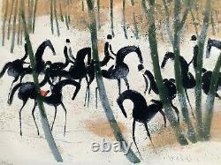 André Brasilier- Cavaliers sur la neige-1970 -Lithographie originale signée/ N°