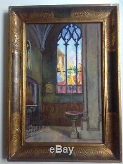 Aquarelle c1920 Intérieur d'une église aux Vitraux signée Madeleine Picolet