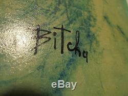 Art Déco 1960 Maternité bleue Encre & huile sur papier marouflé signée BITCHA