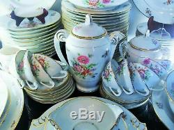 Art Déco Ancienne Service De Table Décor Fleurs Porcelaine P. L. Limoges Signe