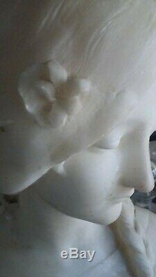 Art Deco Beau Buste De Jeune Fille En Albatre Signe Attribue A Fagioli 1877-1966