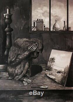 Auguste JOUVE Paul dessin tableau animalier symboliste singe Montmartre art déco