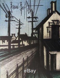 BUFFET Bernard La route du village LITHOGRAPHIE originale signée #MOURLOT