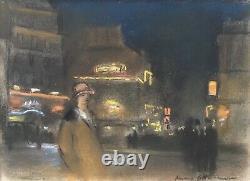 Beau Dessin Henri Ottmann Paris Pigalle Nuit 1900 Pastel Signé Cabaret Lautrec