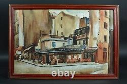 Beau Tableau ancien Rue Mouffetard Paris 5e Animée Art Deco Cesar Bron Vlaminck