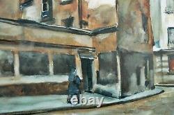 Beau Tableau ancien Rue de Paris Animée Art Deco L'hiver Cesar Bron Vlaminck