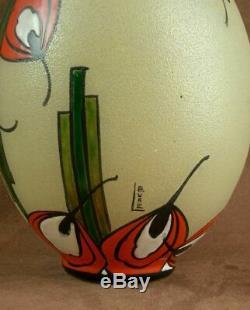 Beau Vase Art Deco Verre Emaillé Signé Leune