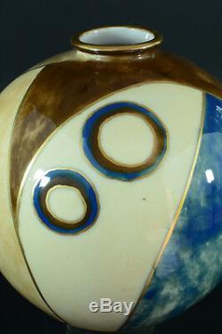 Beau Vase Boule Cubiste émaux signé Camille THARAUD LIMOGES Art déco rare