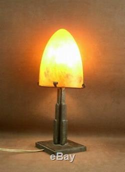 Belle Lampe Art Deco En Fer Forge Obus Pate De Verre Signe Mulaty Lyon