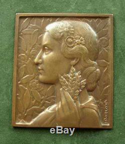 Belle Medaille Sculpture Bas Relief En Bronze Femme Art Deco Signee Morlon